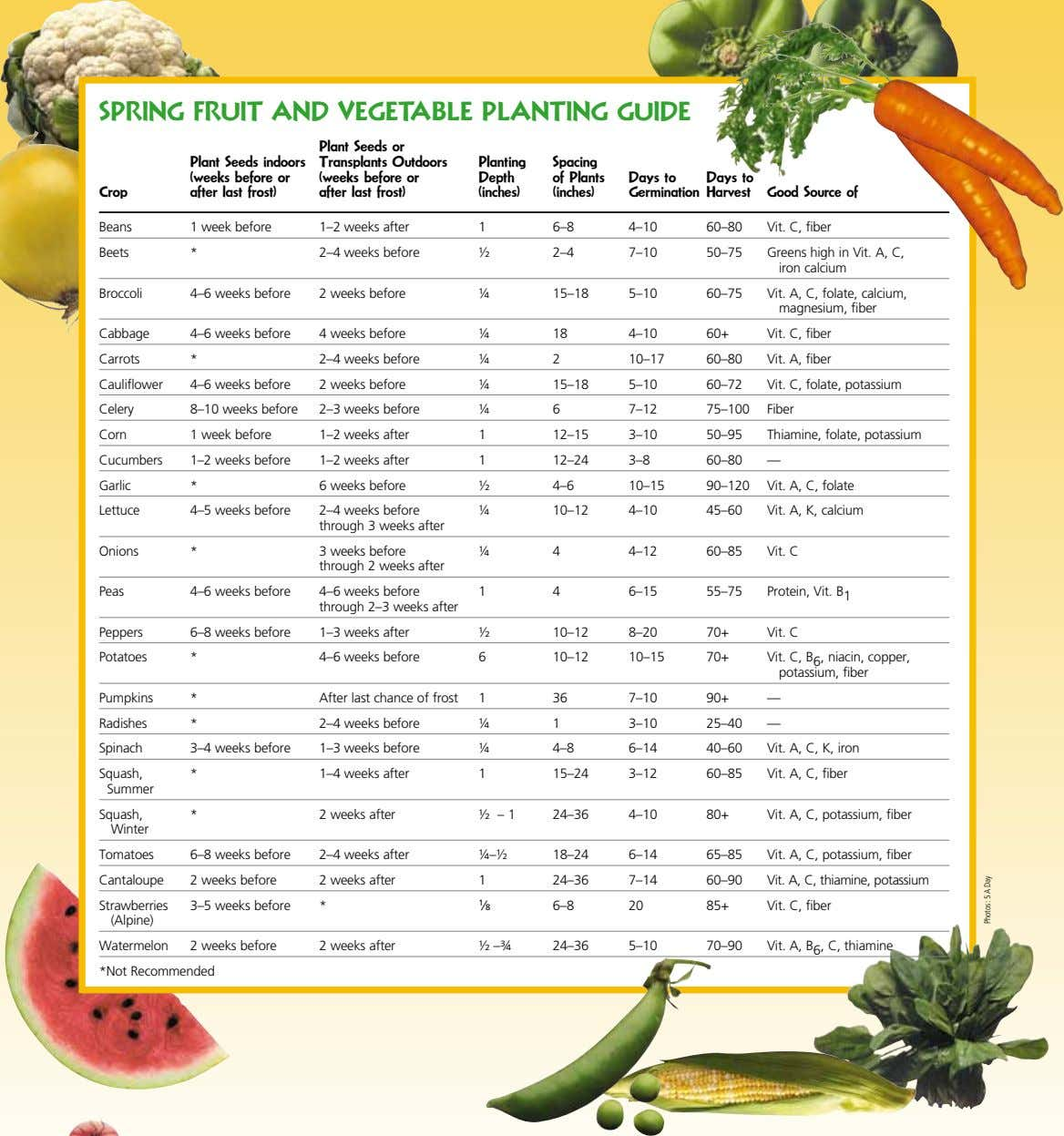 SPRING FRUIT aND VEGETaBLE PLaNTING GUIDE Planting Spacing Depth of Plants Days to Days to