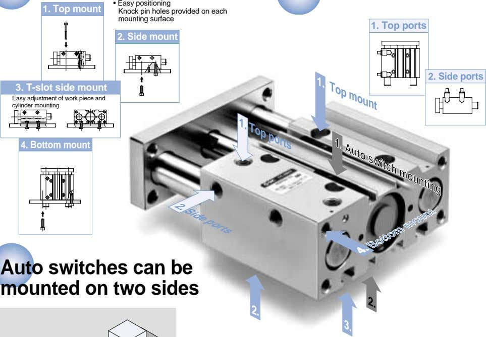 1. Top mount 1. Top mount • Easy positioning Knock pin holes provided on each