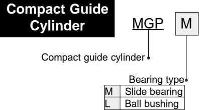 Compact Guide Cylinder MGP M Compact guide cylinder Bearing type M Slide bearing L Ball