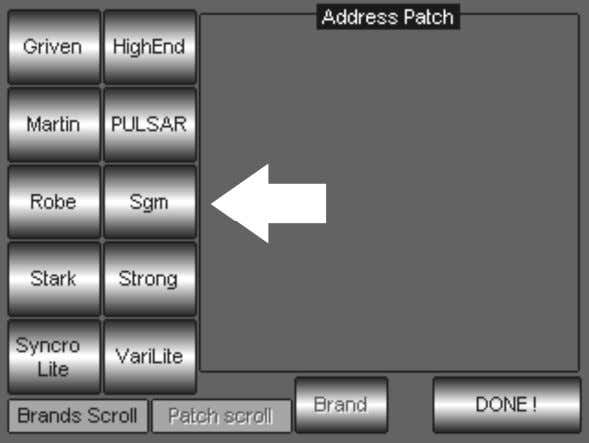 SGM Technology for lighting A DDRESS PATCH E La presión de la tecla Address patch permite