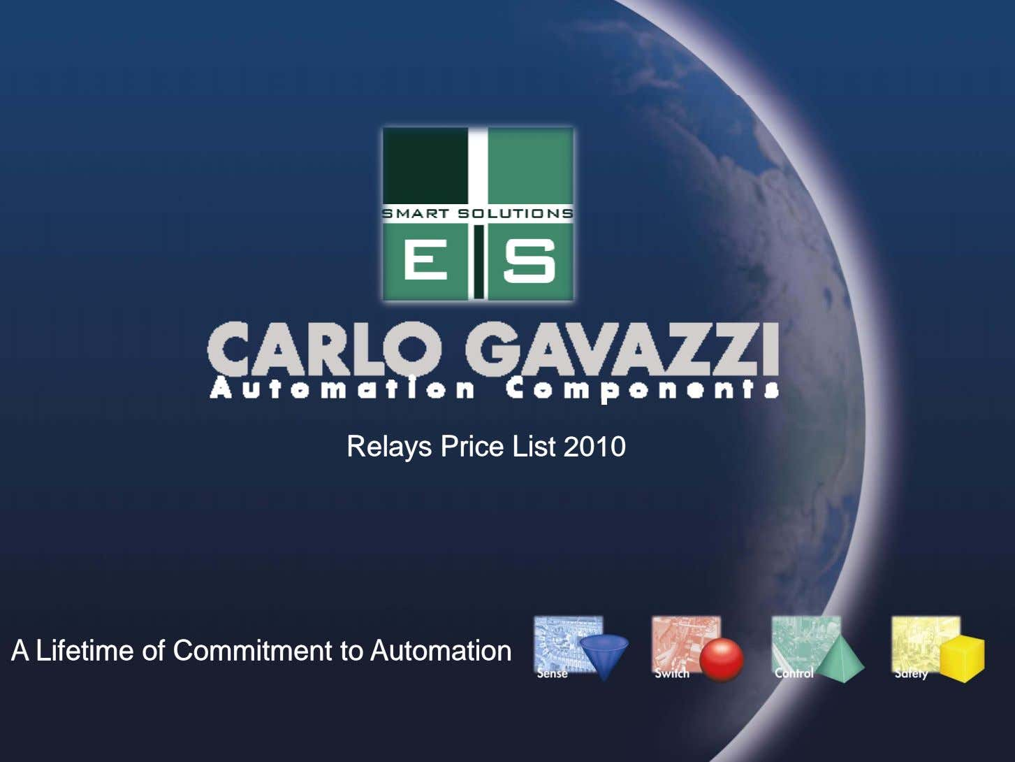 RelaysRelays PricePrice ListList 20102010 AA LifetimeLifetime ofof CommitmentCommitment toto AutomationAutomation
