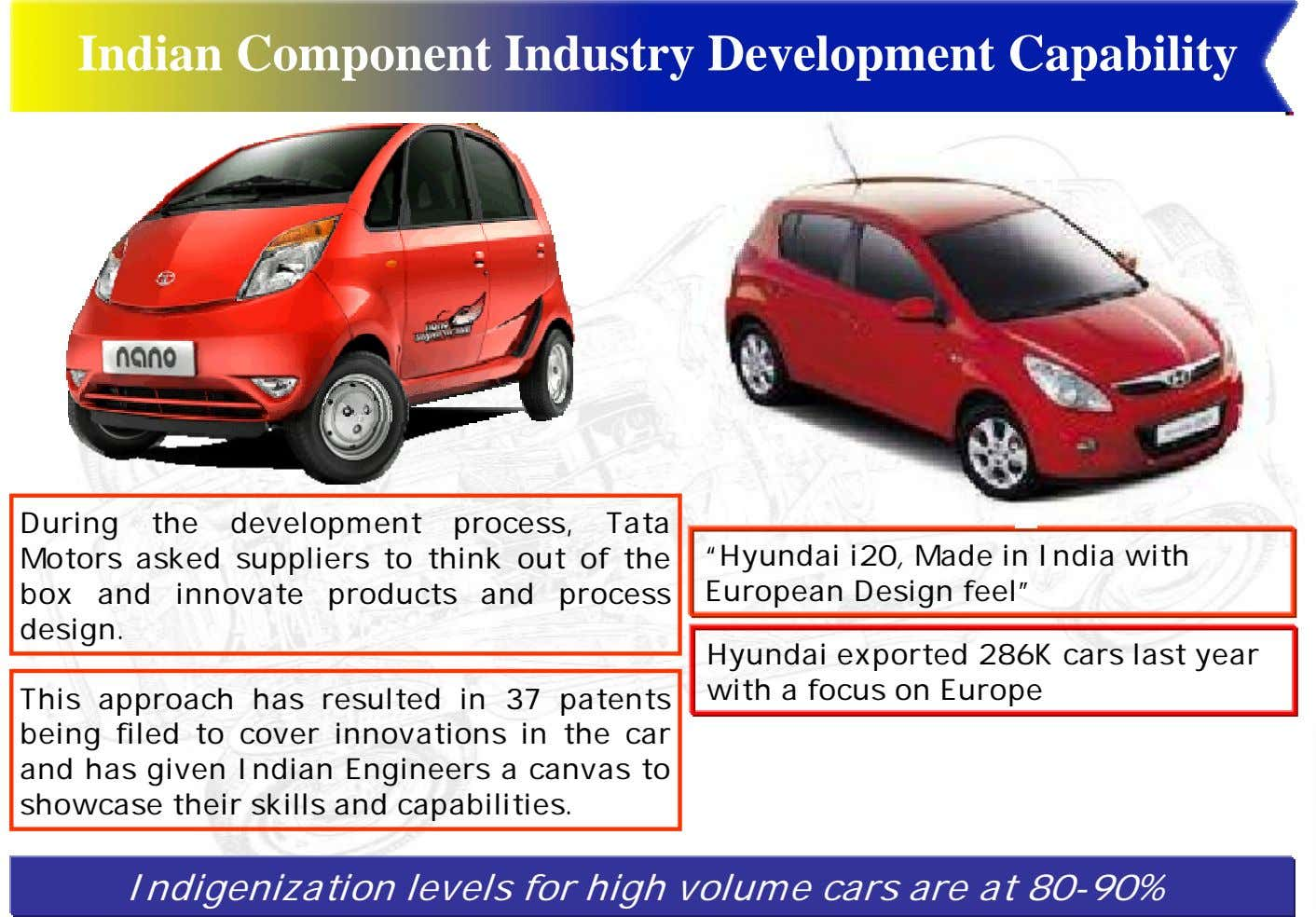 Indian Component Industry Development Capability During the development process, Tata Motors asked suppliers to think