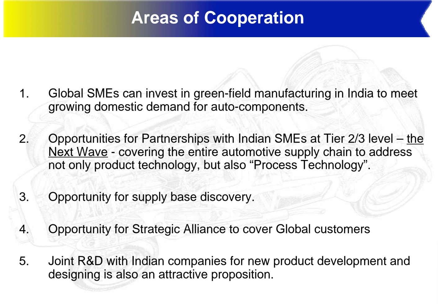 Areas of Cooperation 1. Global SMEs can invest in green-field manufacturing in India to meet