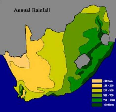 normal climate conditions economically viable farmland. When one considers the rainfall map of South Africa and