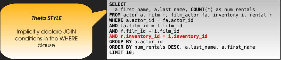 SELECT a.first_name, a.last_name, COUNT(*) as num_rentals FROM actor a, film f, film_actor fa, inventory i,