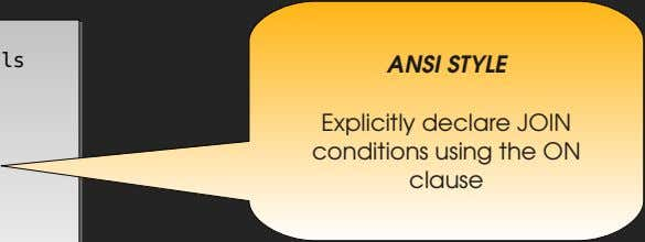 ANSI STYLE Explicitly declare JOIN conditions using the ON clause