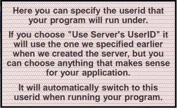 Here you can specify the userid that your program will run under. If you choose