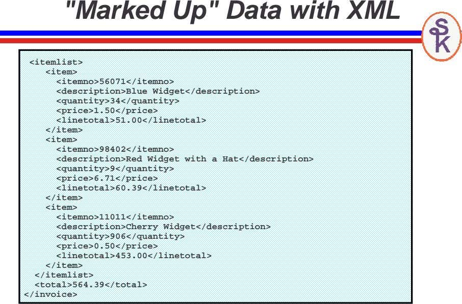 """Marked Up"" Data with XML <itemlist> <item> <itemno>56071</itemno>"