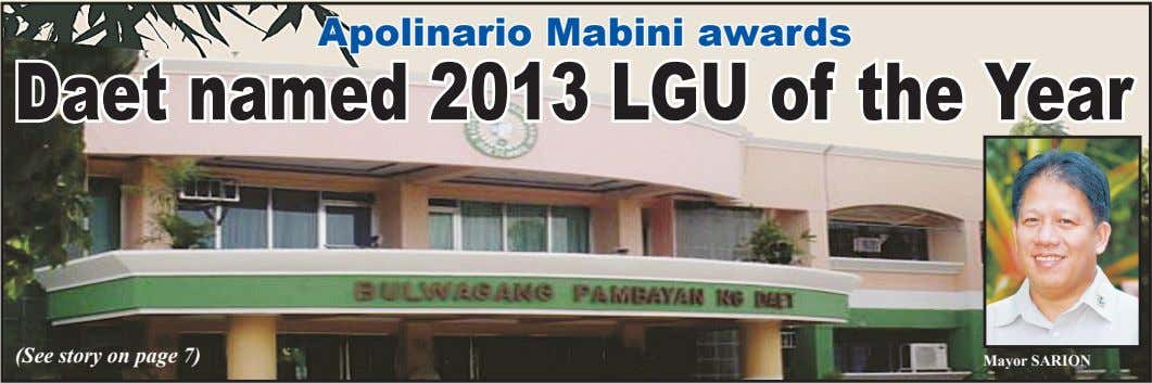 Apolinario Mabini awards Daet named 2013 LGU of the Year (See story on page 7)