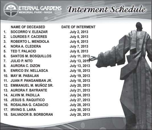 NAMe OF DeCeASeD DAte OF iNteRMeNt 1. SOCORRO V. eLeAzAR July 2, 2013 2. LOuRDeS