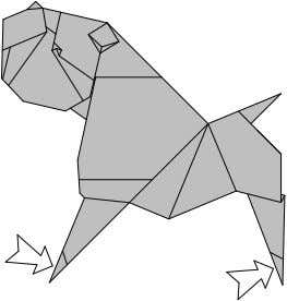 65. 66. 68. Rotate. 69. Inside Reverse Fold the feet. 71. Inside Reverse Fold the tail.