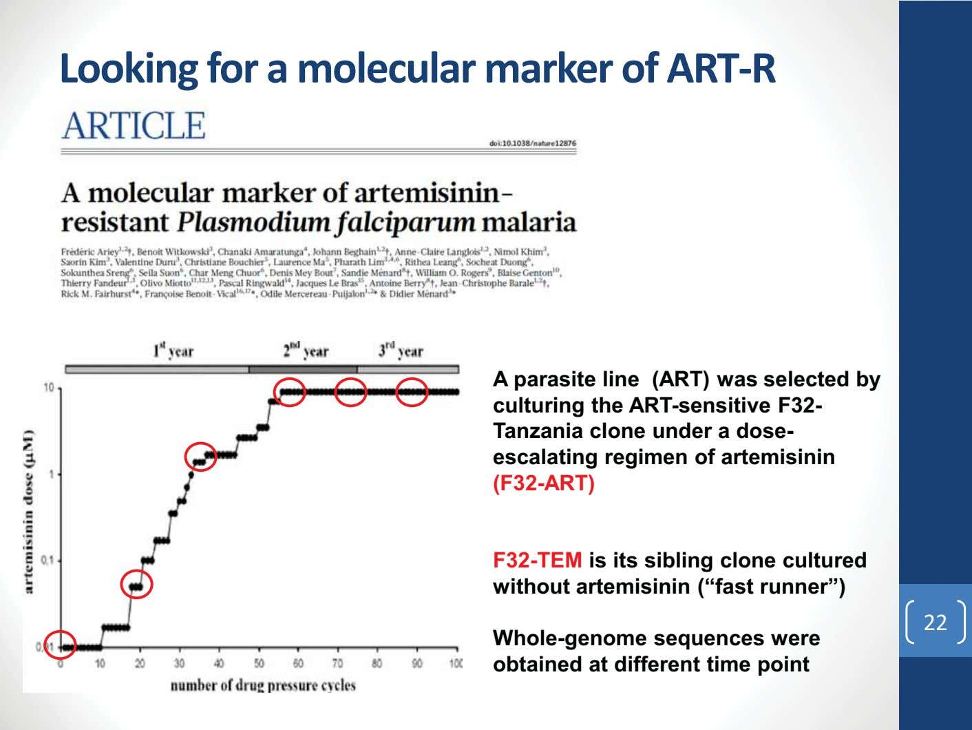 Looking for a molecular marker of ART-R A parasite line (ART) was selected by culturing