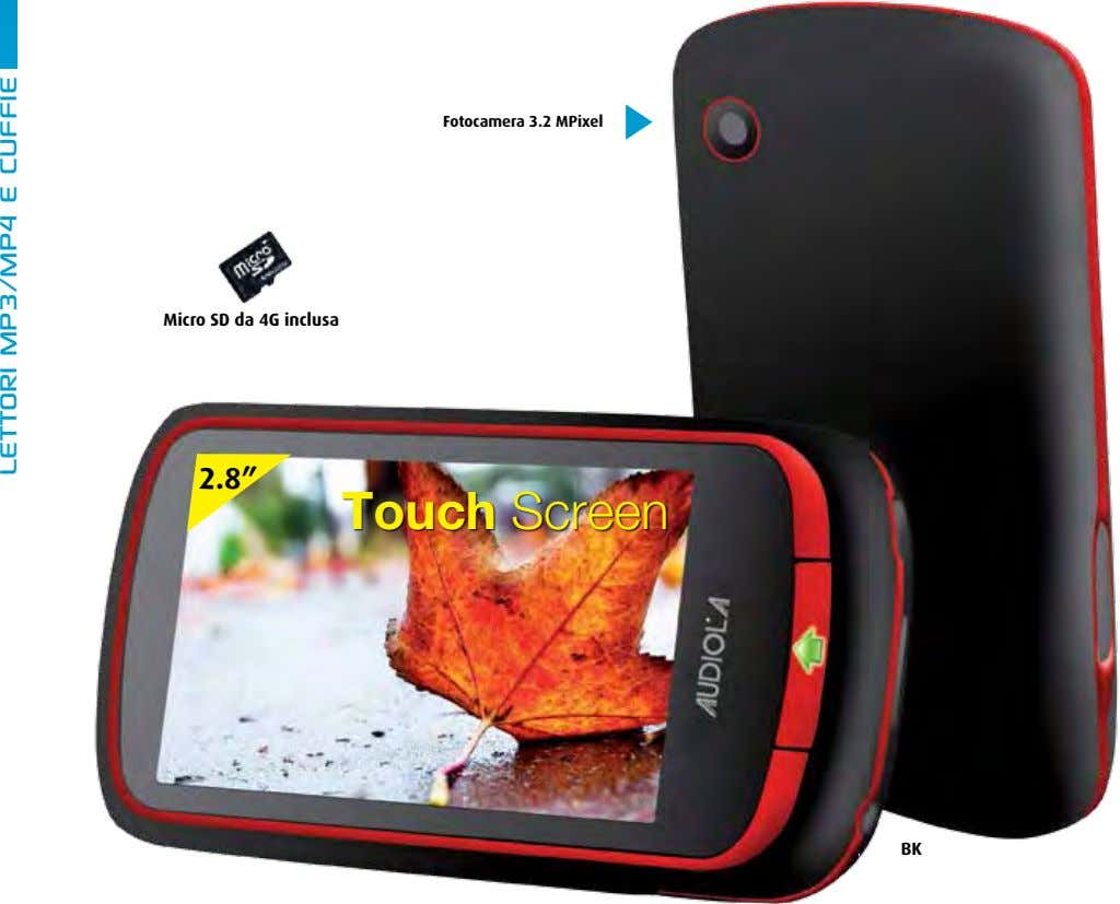 "Fotocamera 3.2 MPixel Micro SD da 4G inclusa 2.8"" Touch Screen BK lettori mp3/mp4 e"
