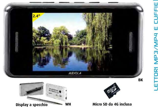 "2.4"" BK Display a specchio WH Micro SD da 4G inclusa lettori mp3/mp4 e cuffie"