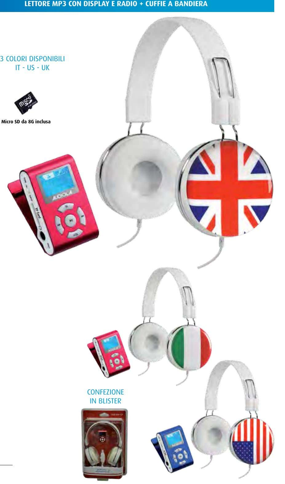 LETTORE MP3 CON DISPLAY E RADIO + CUFFIE A BANDIERA 3 colori disponibili iT -