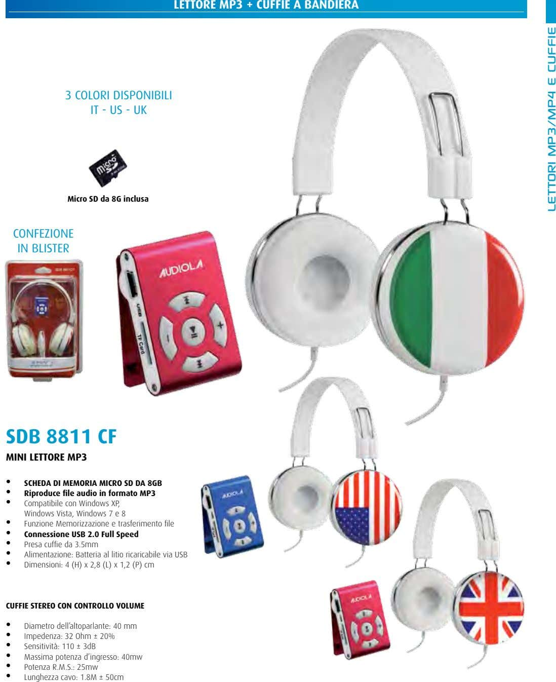 LETTORE MP3 + CUFFIE A BANDIERA 3 colori disponibili iT - Us - UK Micro