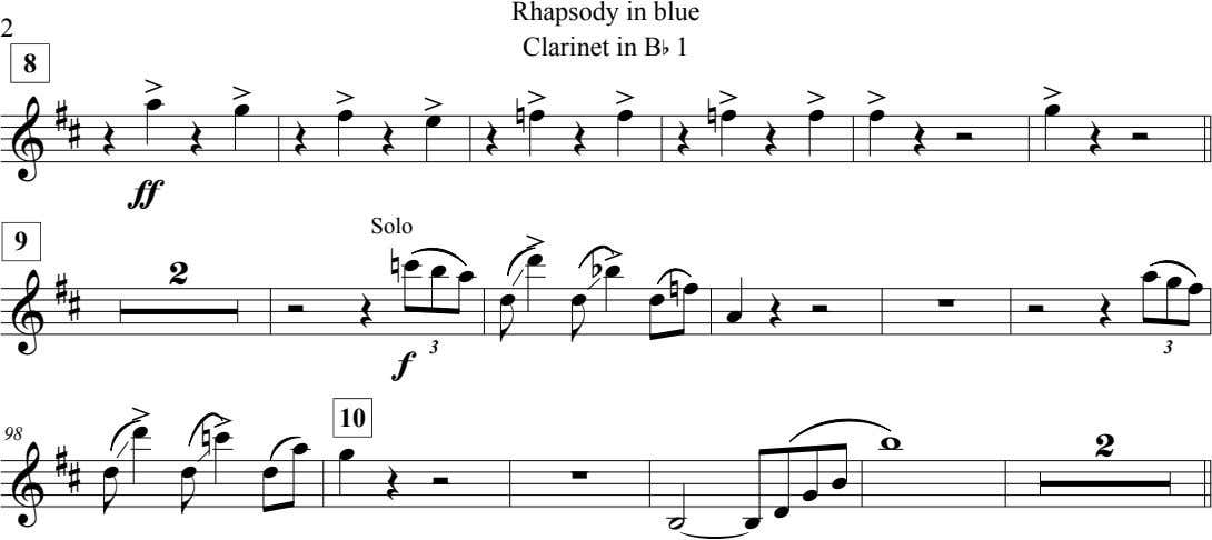 2 Rhapsody in blue Clarinet in B b 1 8 œ > œ > >