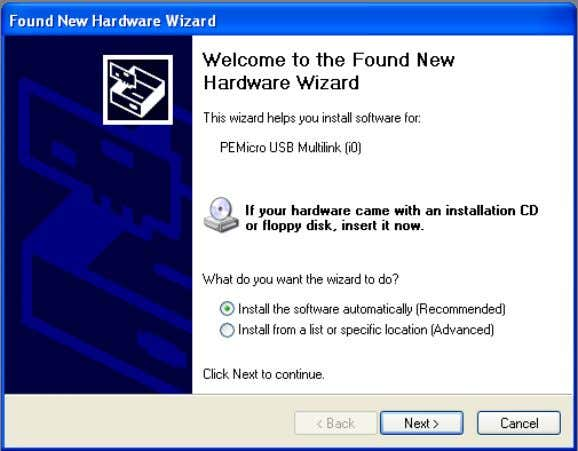 "Figure 4-1: Found New Hardware Wizard Dialog (1 of 4) Select the ""Install the software"