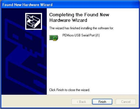 "Figure 4-4: Found New Hardware Wizard Dialog (4 of 4) Click the ""Finish"" button to"