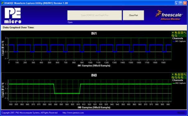 Figure 6-1: Logic Analyzer Application This PC-based application is used to display the logic analyzer