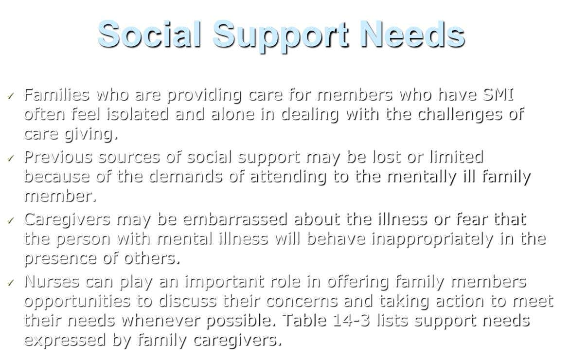 Social Support Needs Families who are providing care for members who have SMI  often feel