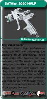 SATAjet 3000 HVLP The Super Saver Premium class, high performance spray gun with low over-spray, low