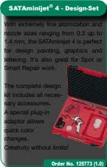The complete design kit includes all neces- sary accessories. A special plug-in adaptor allows quick color