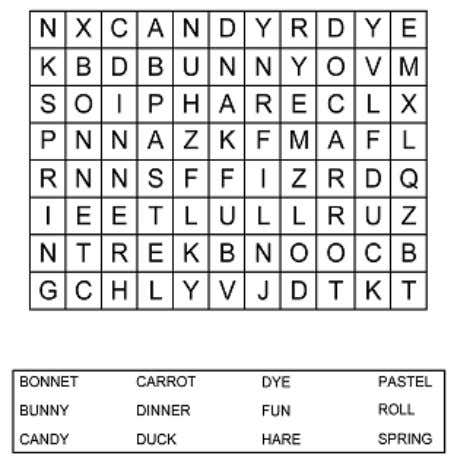 Find in the word search twelve words related to Easter.  Good Friday is the Friday
