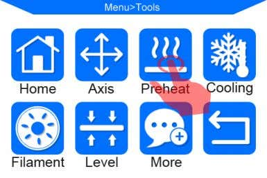 "(Figure 32) 2. After pre-heat is finished, please click on Home screen "" Tools "" -->"