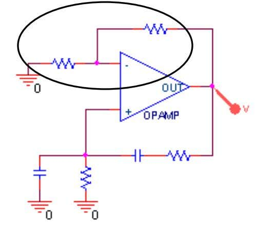 the signal with the two negative feedback resistors Operational amplifier gain G V 1 ( s