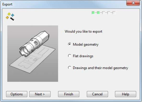 Use this page to export a model that includes drawings. 1 Select one of the options