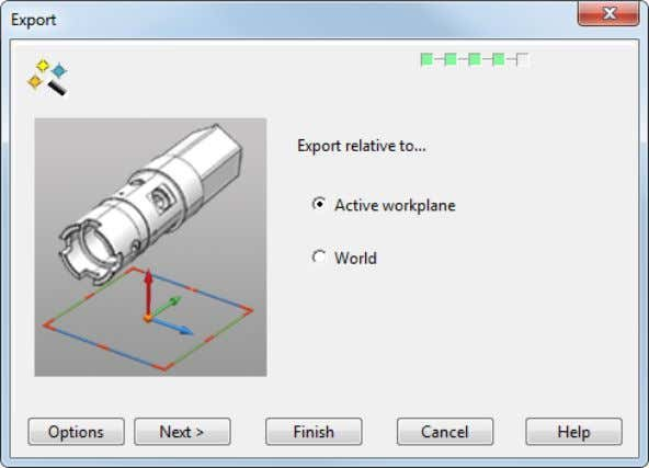 Use this page to specify the workplane to be used at export. 1 Select the option