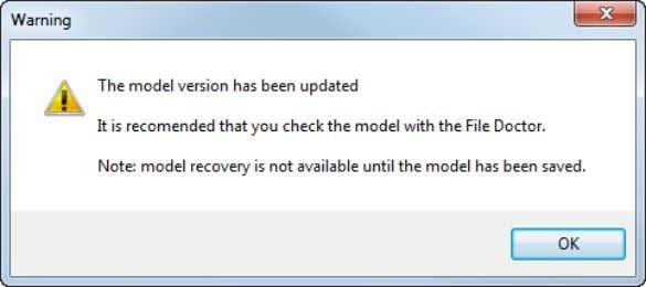 interactively. The following warning dialog is displayed: You are recommended to run File Doctor when opening