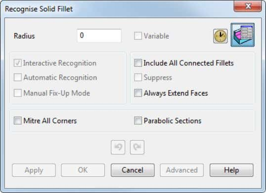 dialog to display the Recognise Solid Fillet dialog. 3 Select the appropriate editing options on the