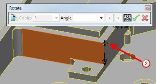 4 Click and define the rotation axis as indicated . 5 Click the face and drag