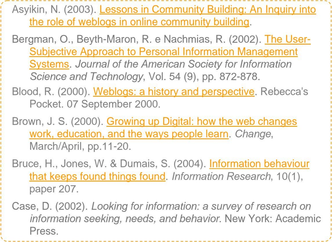 Asyikin, N. (2003). Lessons in Community Building: An Inquiry into the role of weblogs in