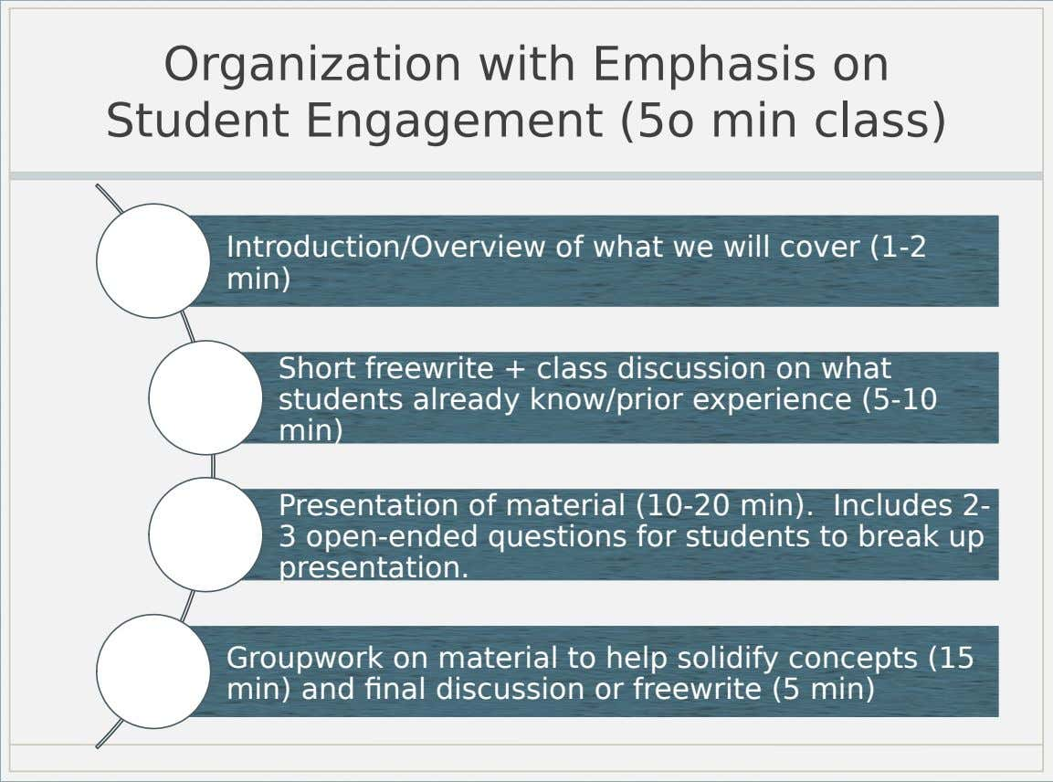 Organization with Emphasis on Student Engagement (5o min class) Introduction/Overview of what we will cover (1-2