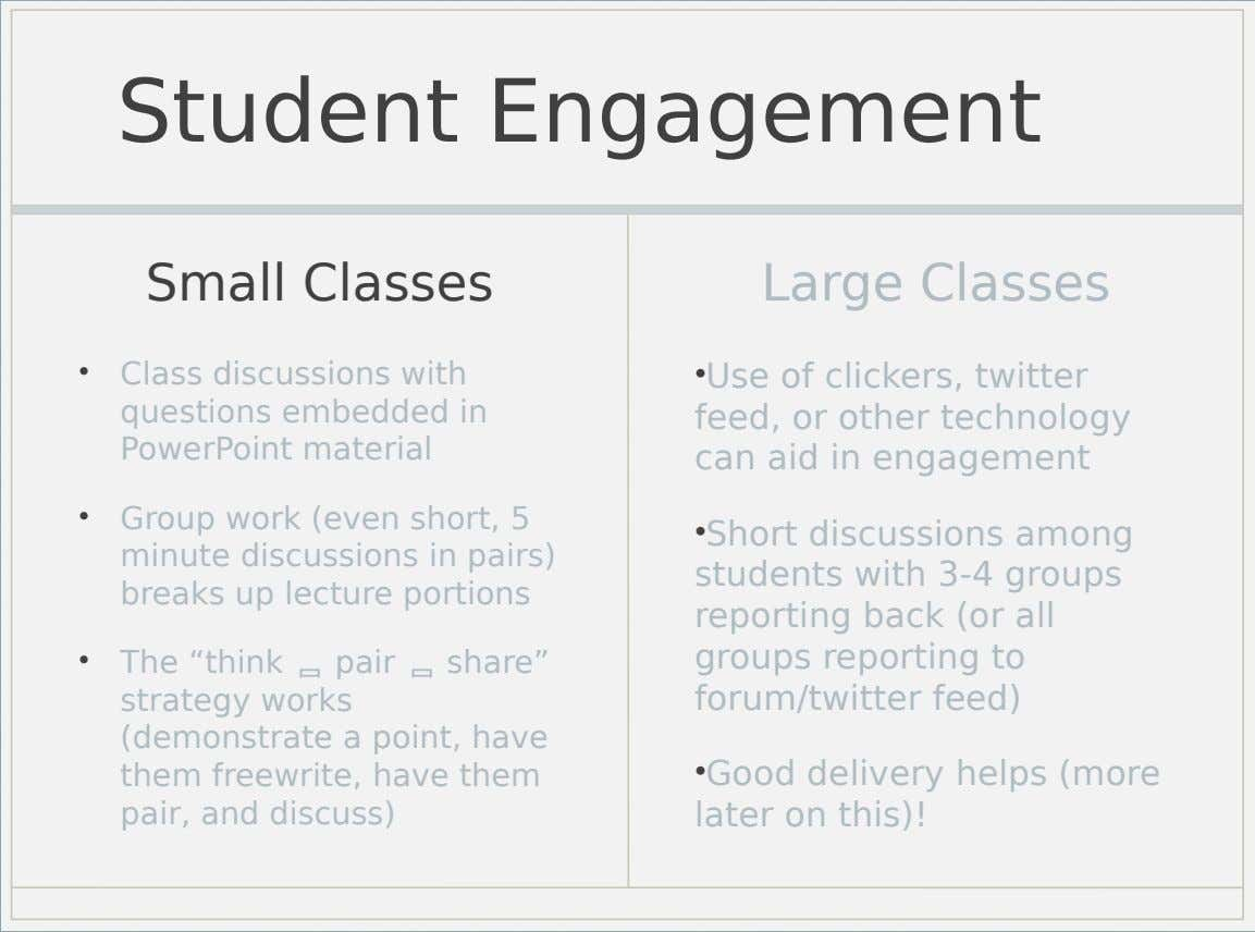 Student Engagement Small Classes Large Classes • Class discussions with questions embedded in PowerPoint material •Use