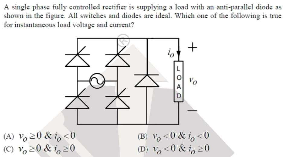 Question: 23 EE Answer: (C) Solutoins: Since this converter has freewheeling diode, the output voltage cannot