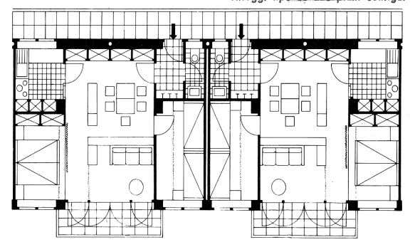 su ogni colonna di scale ( casa multipiani in linea ). Fig.18 : Case multipiani a