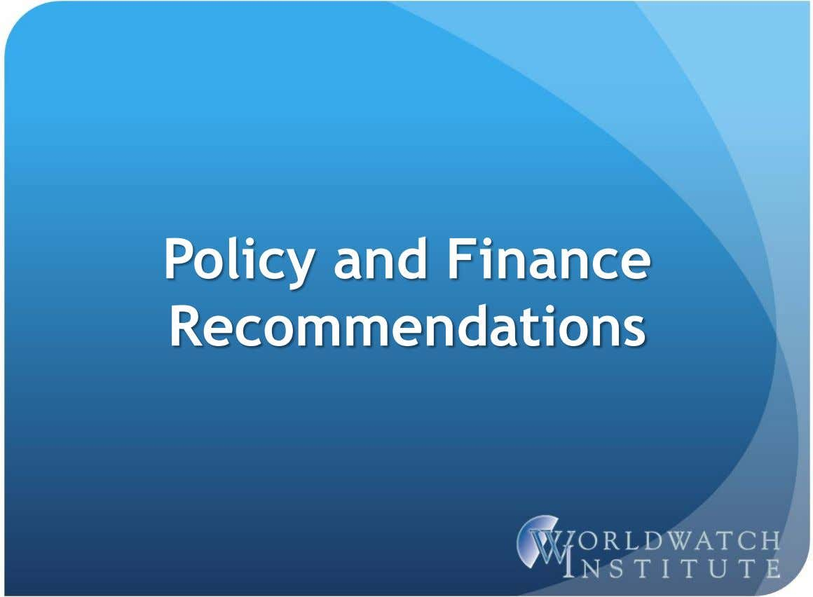 Policy and Finance Recommendations