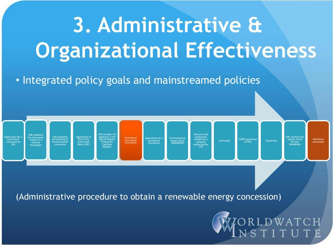 3. Administrative & Organizational Effectiveness • Integrated policy goals and mainstreamed policies Application