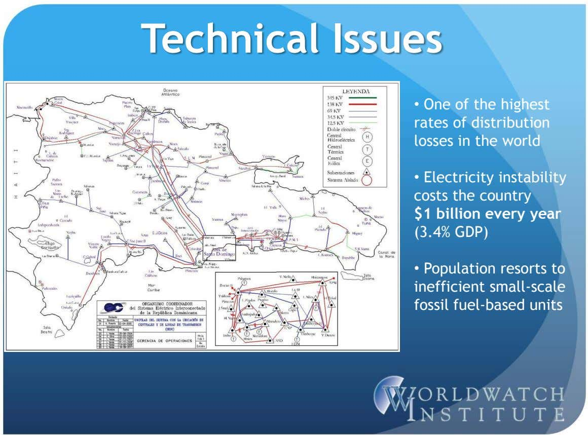 Technical Issues • One of the highest rates of distribution losses in the world •