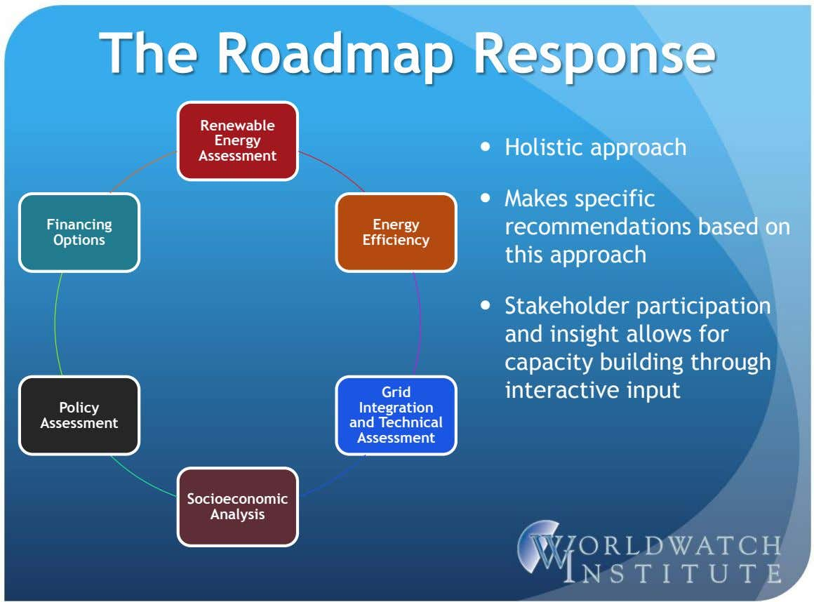 The Roadmap Response Renewable Energy  Holistic approach Assessment Financing Energy  Makes specific