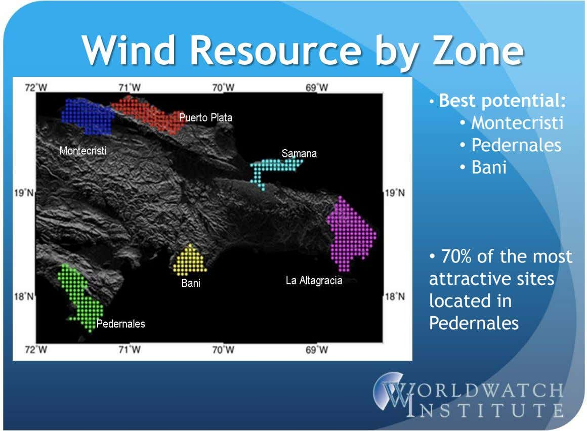 Wind Resource by Zone • Best potential: • Montecristi • Pedernales • Bani • 70%