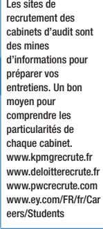 de chaque cabinet. www.kpmgrecrute.fr www.deloitterecrute.fr www.pwcrecrute.com www.ey.com/FR/fr/Car eers/Students