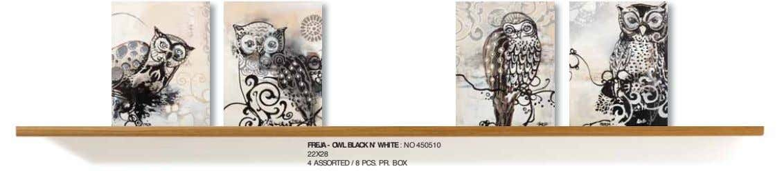 FREJA - OWL BLACK N' WHITE : NO 450510 22X28 4 ASSORTED / 8 PCS.