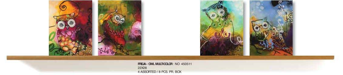FREJA - OWL MULTICOLOR : NO 450511 22X28 4 ASSORTED / 8 PCS. PR. BOX