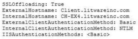 cmdlet on CH-EX4, and receive the following output: You need to prevent the internal users from