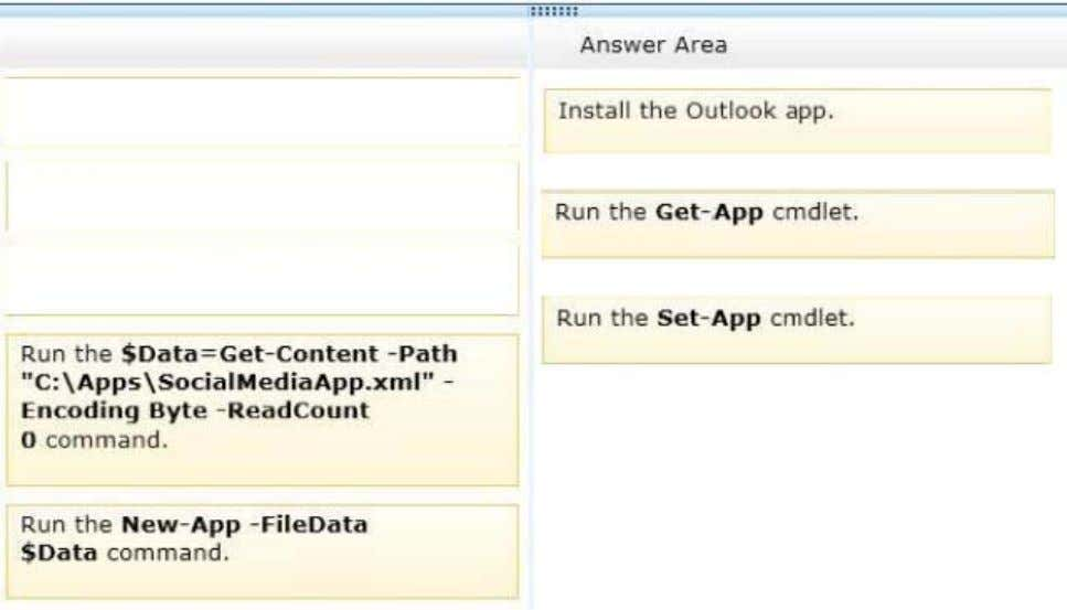 Correct Answer: Section: [none] Explanation Explanation/Reference: Install or Remove Apps for Outlook for Your